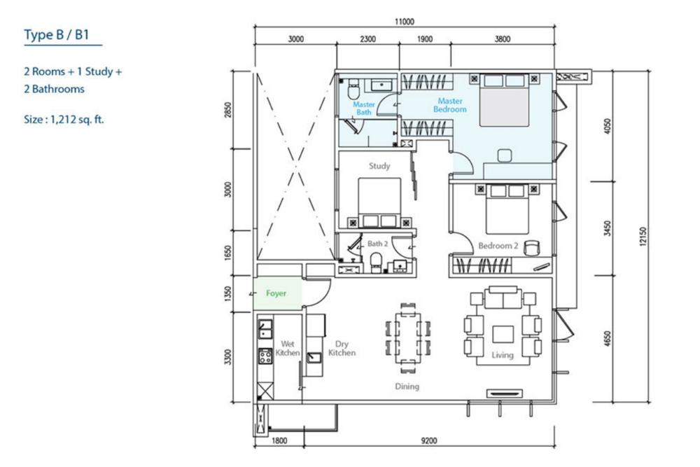 The Como Type B/B1 Floor Plan