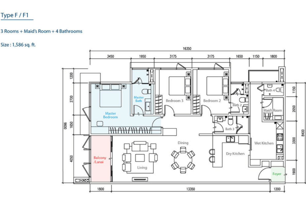 The Como Type F/F1 Floor Plan