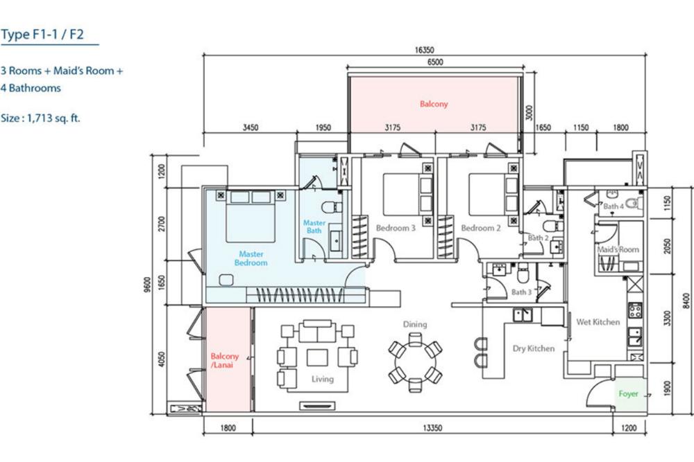 The Como Type F1-1/F2 Floor Plan