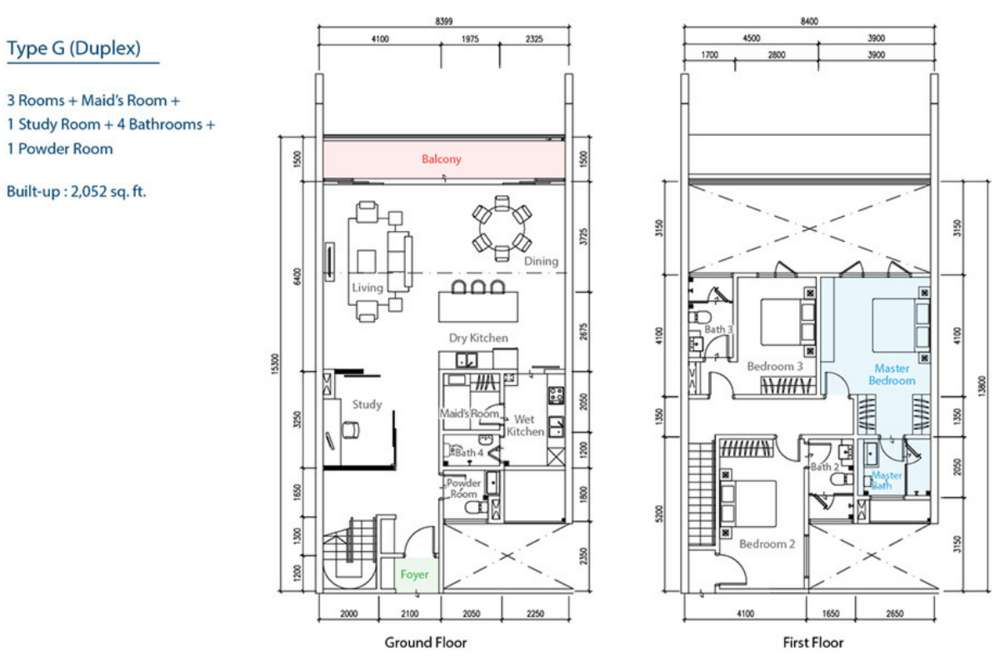 The Como Type G (Duplex) Floor Plan