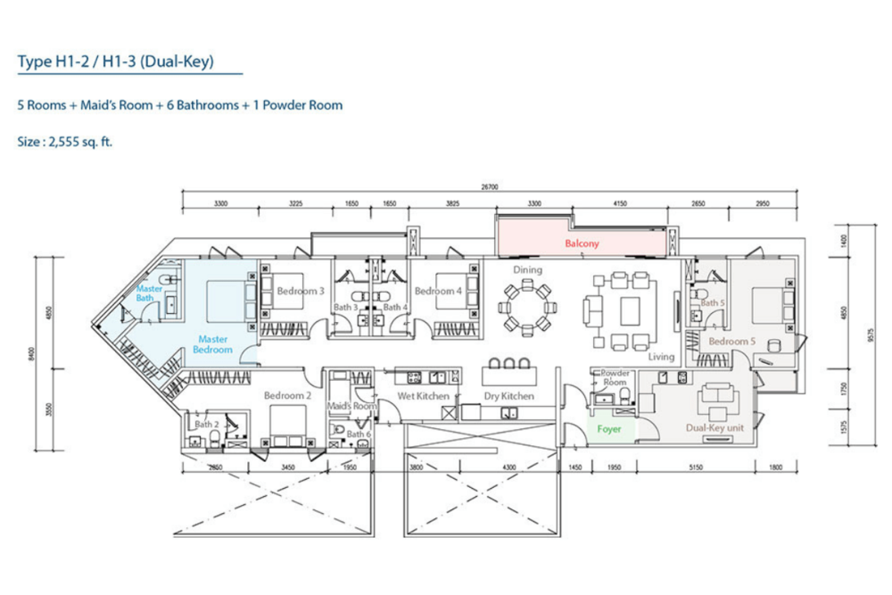 The Como H1-2/H1-3 (Dual-Key) Floor Plan