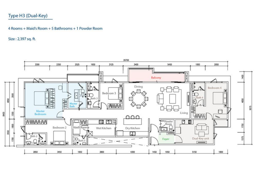 The Como H3 (Dual-Key) Floor Plan