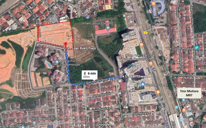The land is located 400 metres away from ekocheras mall  which also offers direct connectivity to the taman mutiara mrt station. truncate