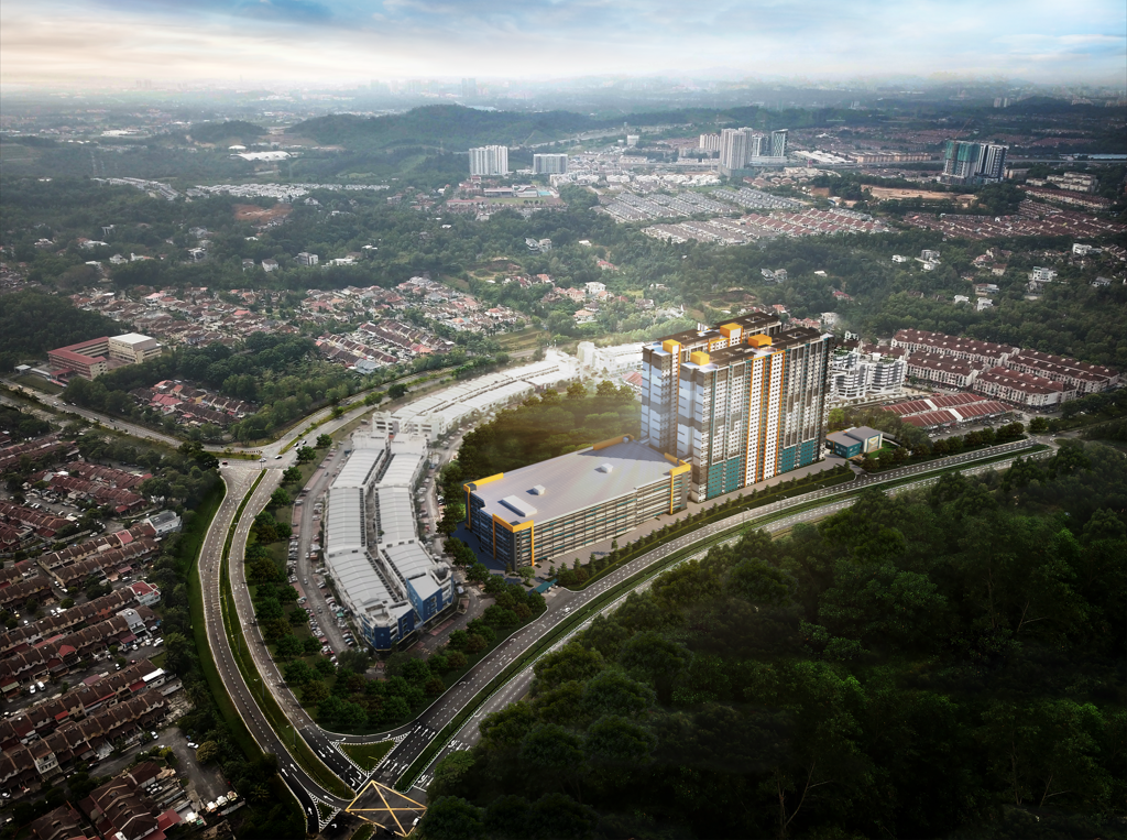 Prestige residence aerial perspective view