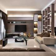 Residential project an earthy palette landed interior design featured small