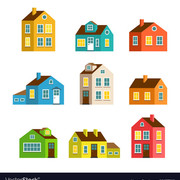 Small and big cartoon houses isolated set vector 18637118 small